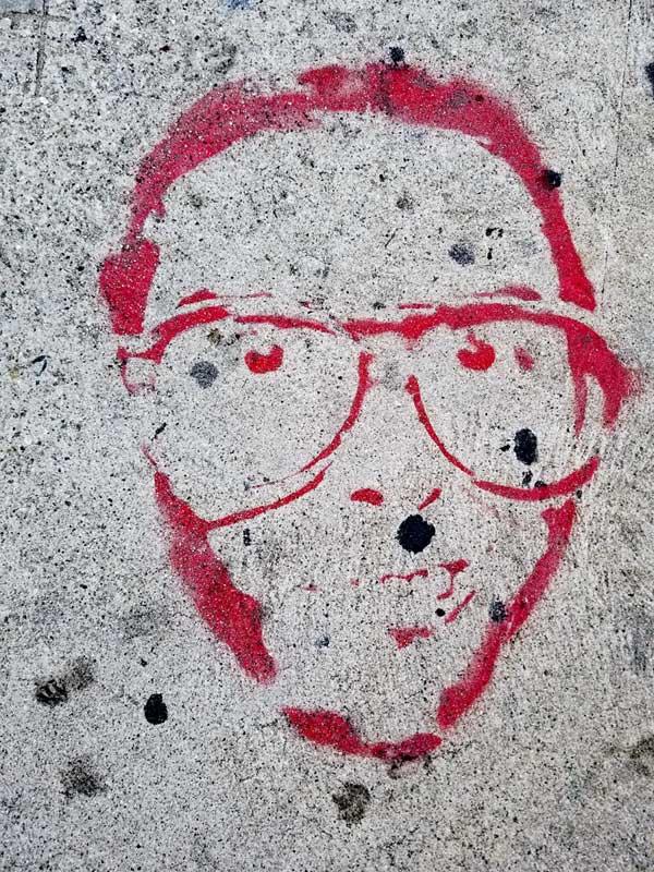 Guy in glasses - Sidewalk art