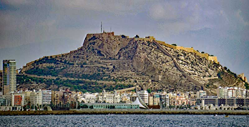 The 166m high mount Benacantil in the centre of Alicante from the sea.