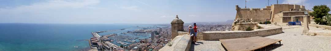 Panoramic view from the castle out over the harbor and the mediterranean sea