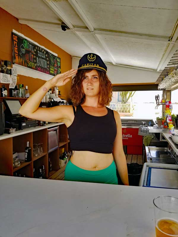 The prettiest barmaid on Tabarca is ready to serve you a nice cold beverage at Isla Bonita Beach Club