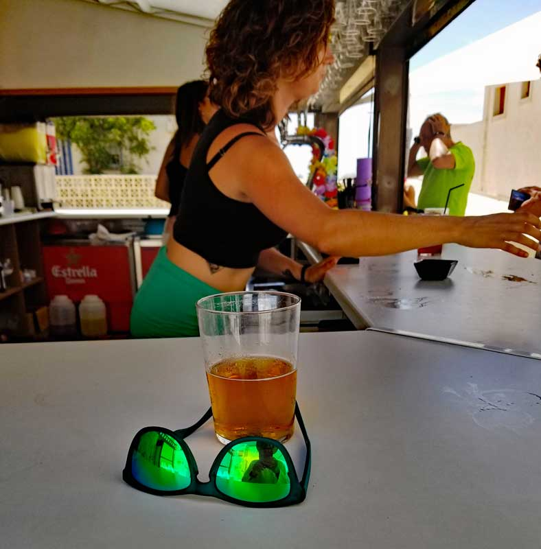 You get a nicely chilled glass for your beer at Isla Bonita Beach Club
