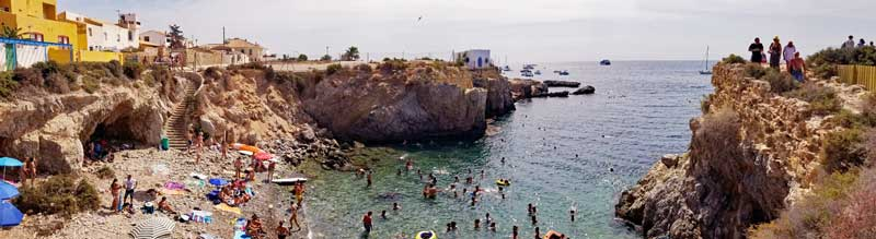 One of the nice swimming coves on the island.
