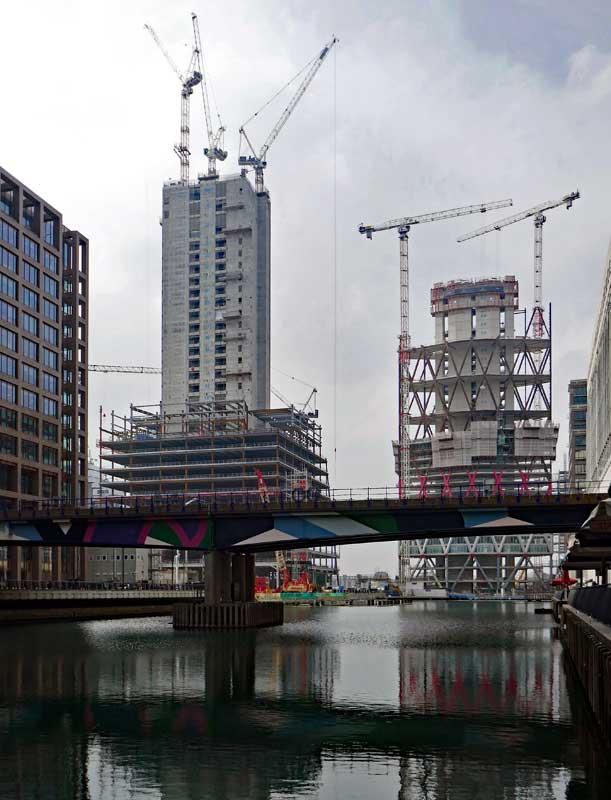 Canary Wharf construction cranes.