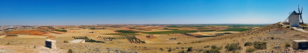 Looking out over the plains of the Castile-La Mancha from the site of Los Molinos where Don Quixote and Sancho Panza were roaming around in the 1505 novel by Cervantes.