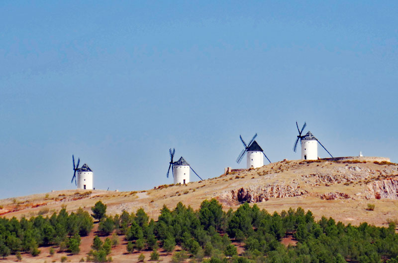 Los Molinos, the windmills that Don Quixote fought with in the Cervantes novel sits on a hill coming into Toledo from the South.
