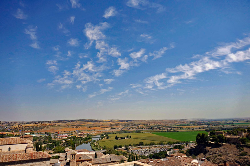 Looking out over the plains of La-Mancha from atop the hill in Toledo.