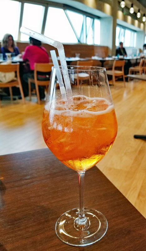 An Aperol Spritz is a good way to start your meal off right...