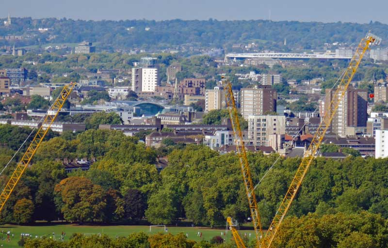 Another view from the Orb showing the Yellow Cranes