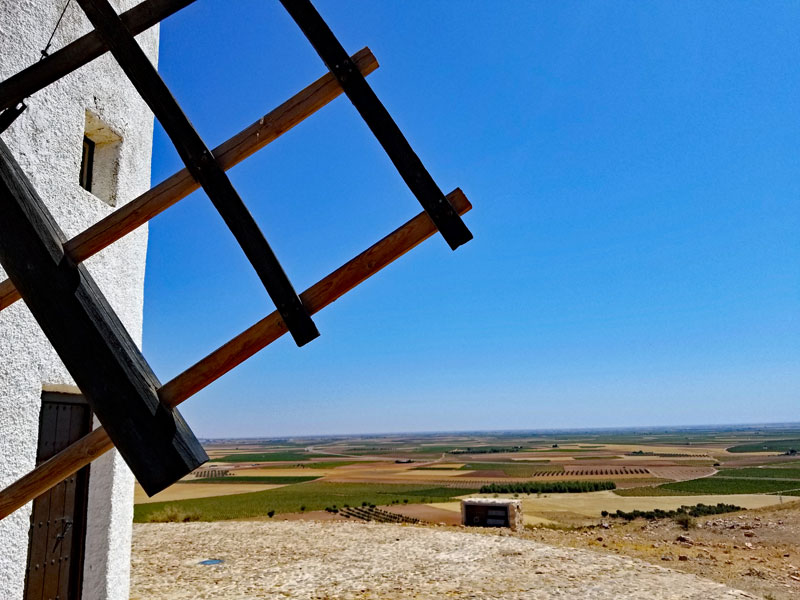 Looking out over the plains of La-Mancha from the windmill site.