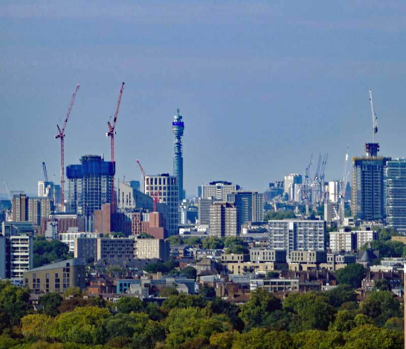 View towards the city from the Orb with City Cranes