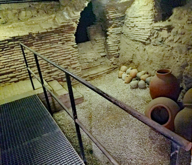 A wine cellar in the Sephardic museum (Museo Sefardi) with wine vessels possibly dating back to the 1400's