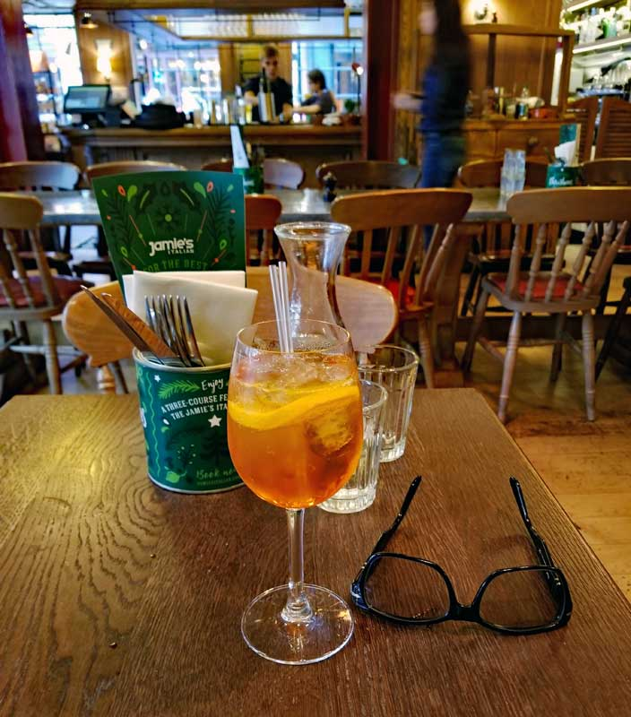An Aperol Spritz starts of the meal in a good way.