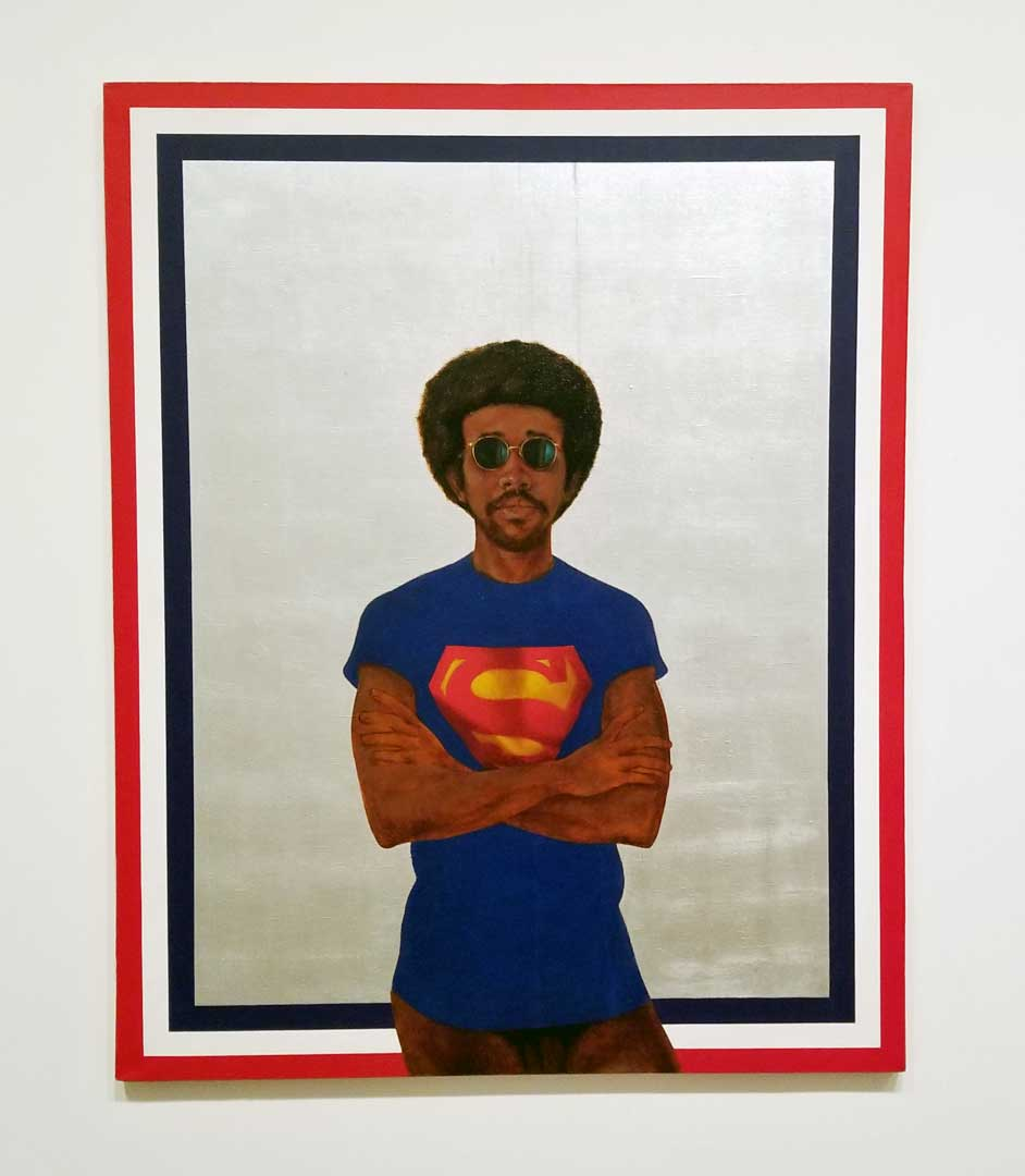 My Man Superman (Superman Never Saved any Black People – Bobby Seale), 1969 by Barkley Hendricks. Courtesy of the artist and Jack Shainman Gallery, New York