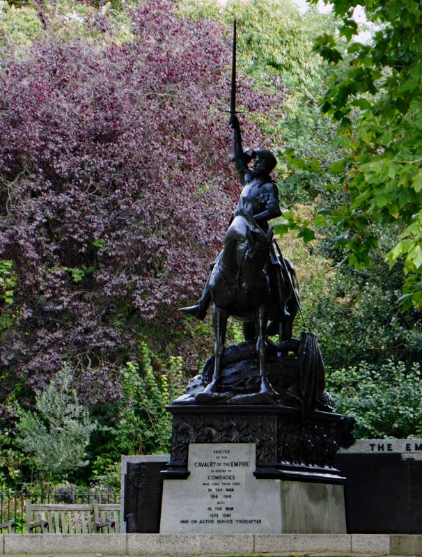 The park is filled with memorials of different types, here is one memorial to the Cavalry.