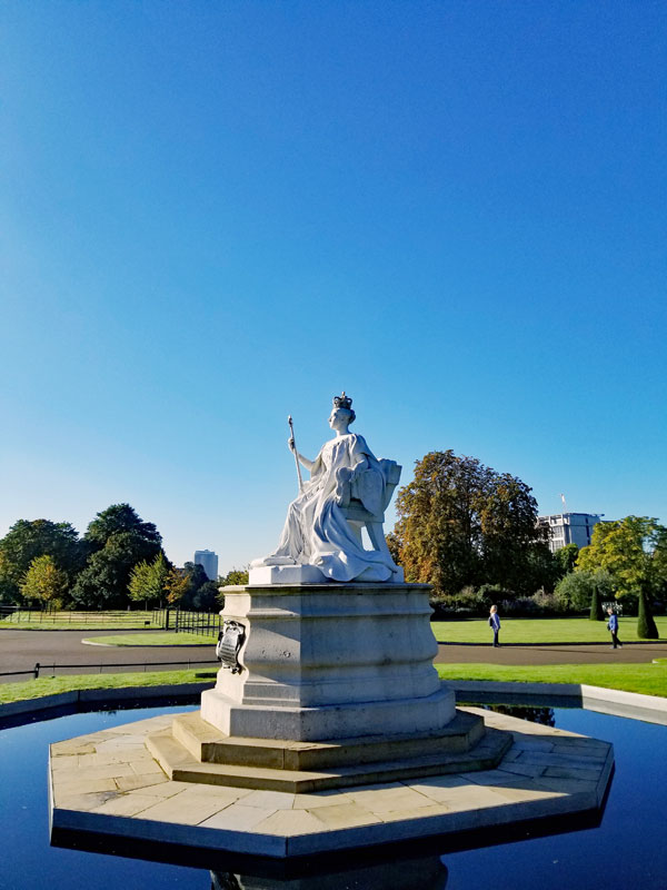 Statue of Queen Victoria outside of Kensington Palace which was her childhood home.