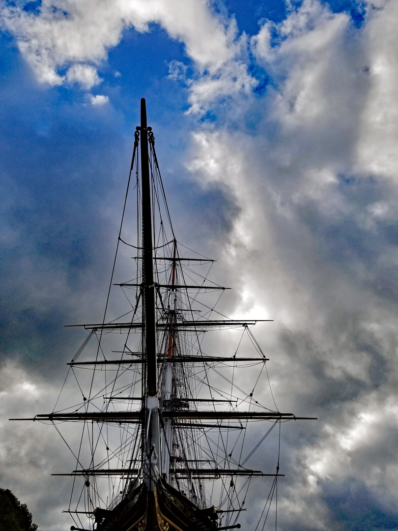Cutty Sark masts and rigging sen from the Bow