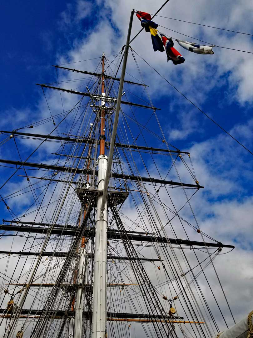 Cutty Sark masts and Rigging as seen from the aft deck