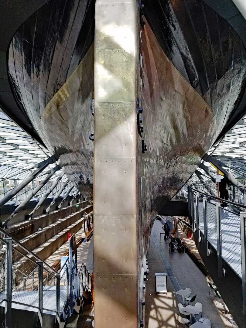 Cutty Sark's copper clad keel.