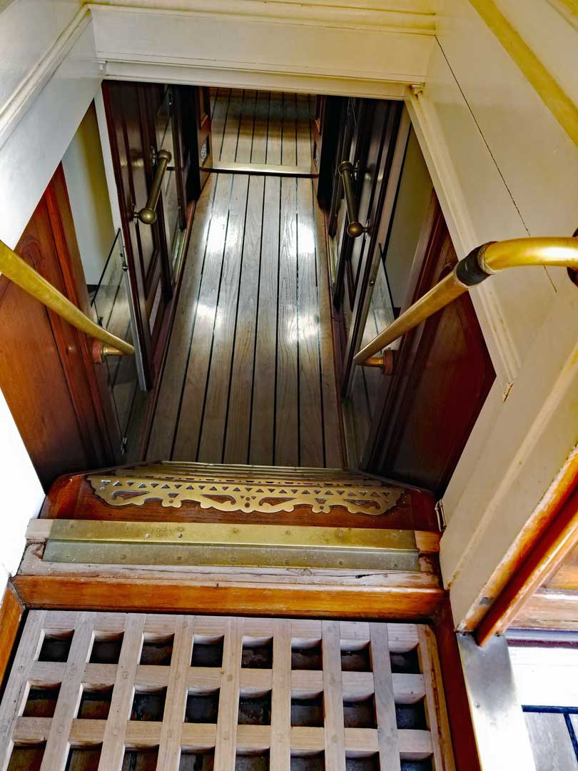 Ladder leading to the Liverpool house in the Stern from the Poop deck Wheel area.