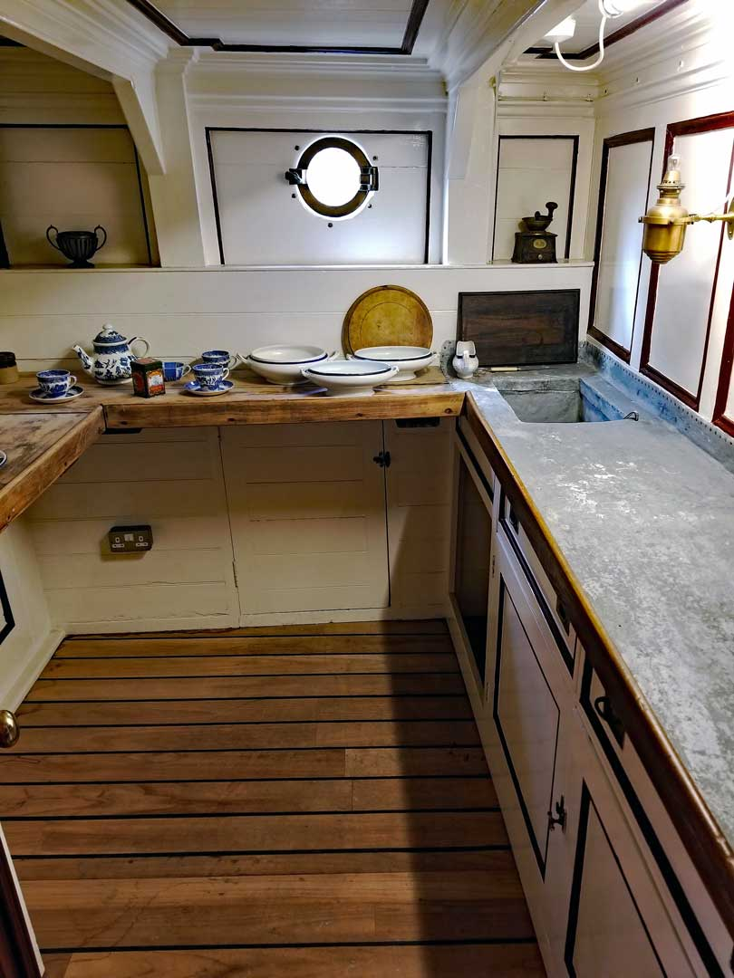 Pantry in the Stern to serve the Master and other officers on the Cutty Sark.