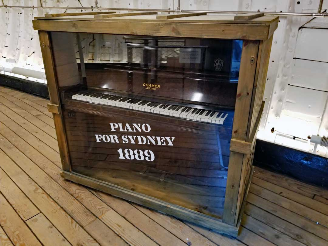 Piano destined for Sydney Australia onboard the Cutty Sark as cargo in 1889.