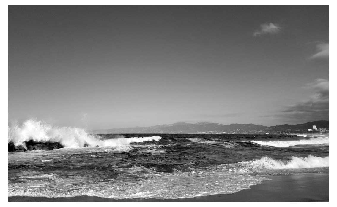 Surf in B&W looking North towards Santa Monica from the Venice breakwater.