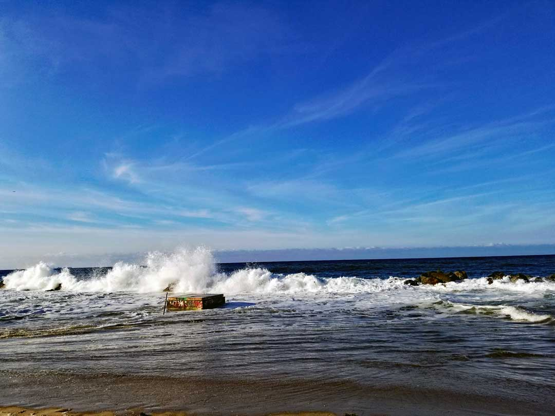 Breakwater splash.