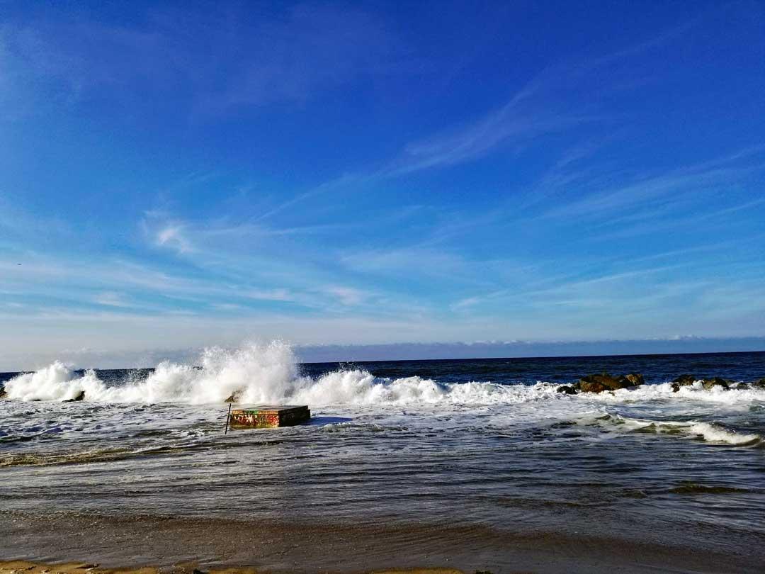 Breakwater splash.