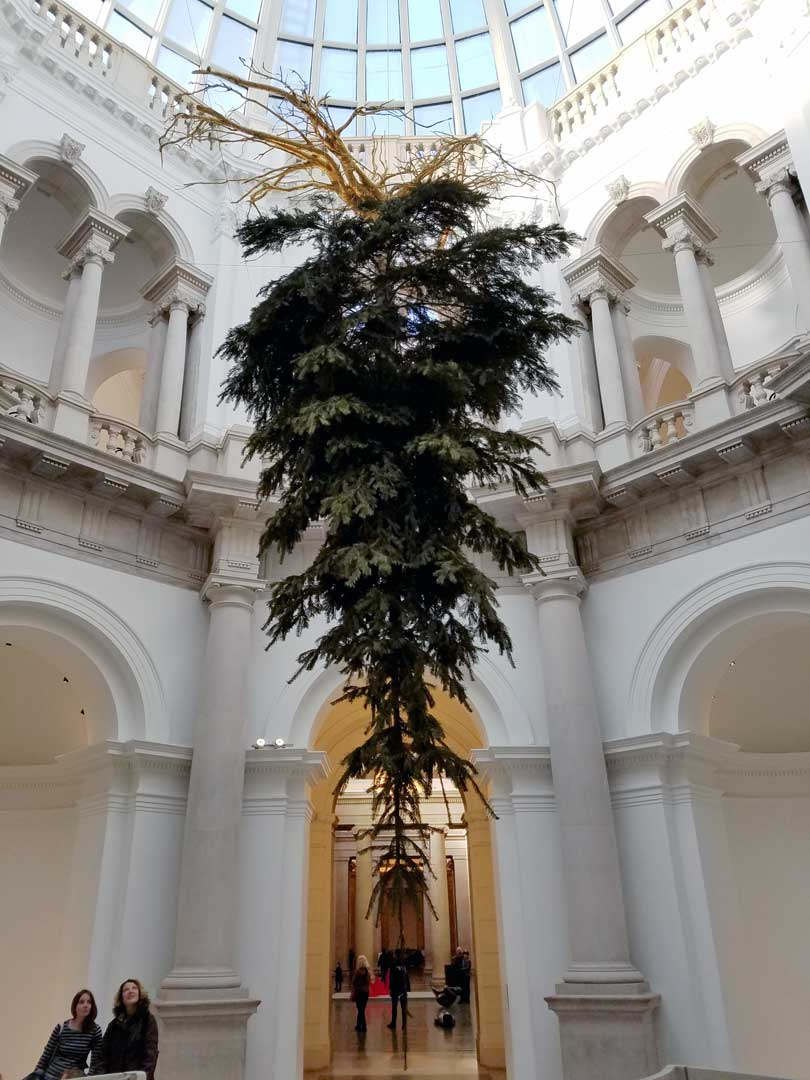 Tate Britain London, upside down Christmas tree 2016 by Iranian artist Shirazeh Houshiary