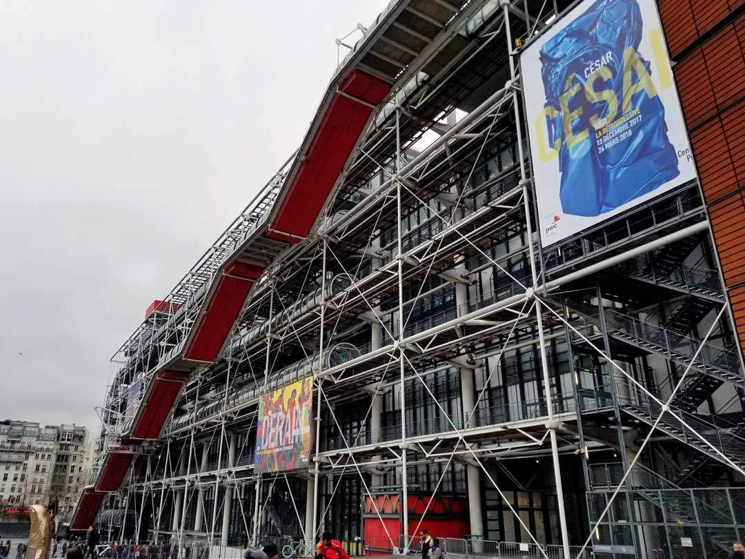 Centre Pompidou from the main entrance side.