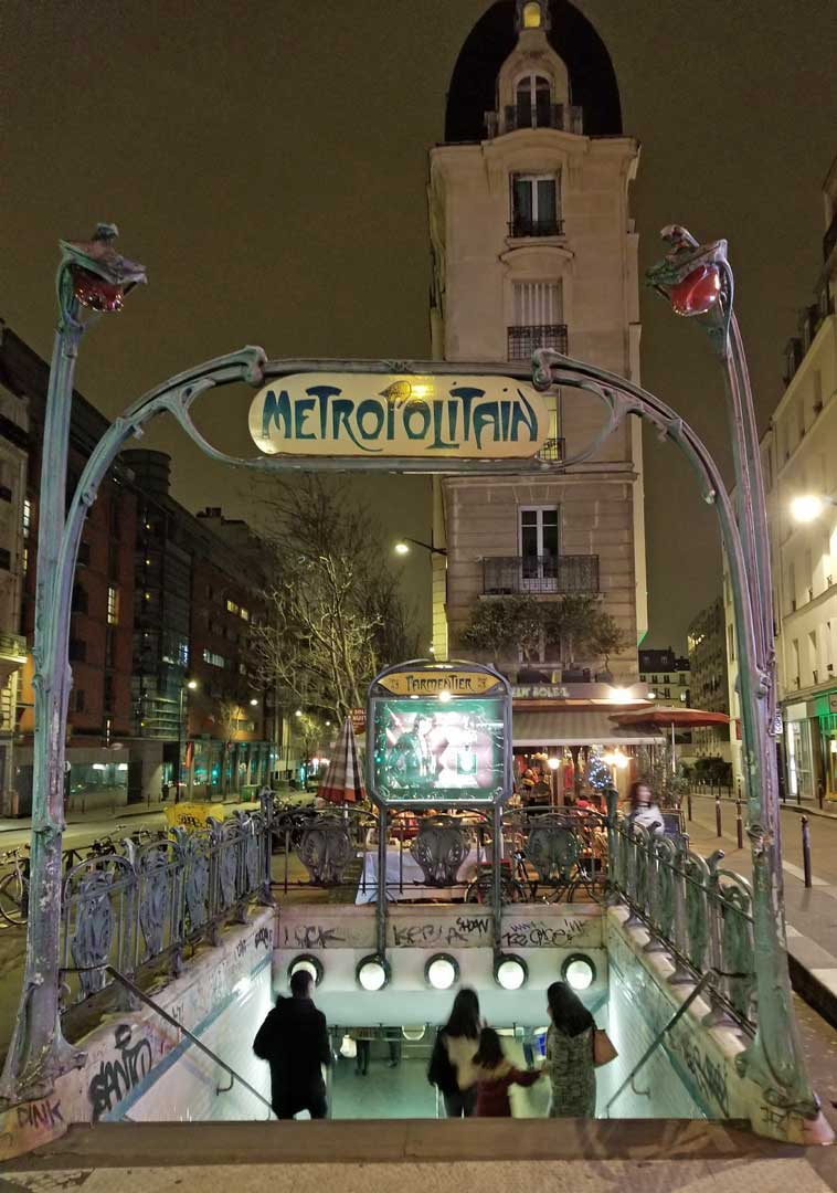 Metro entrance to line 3 Parmentier stop.