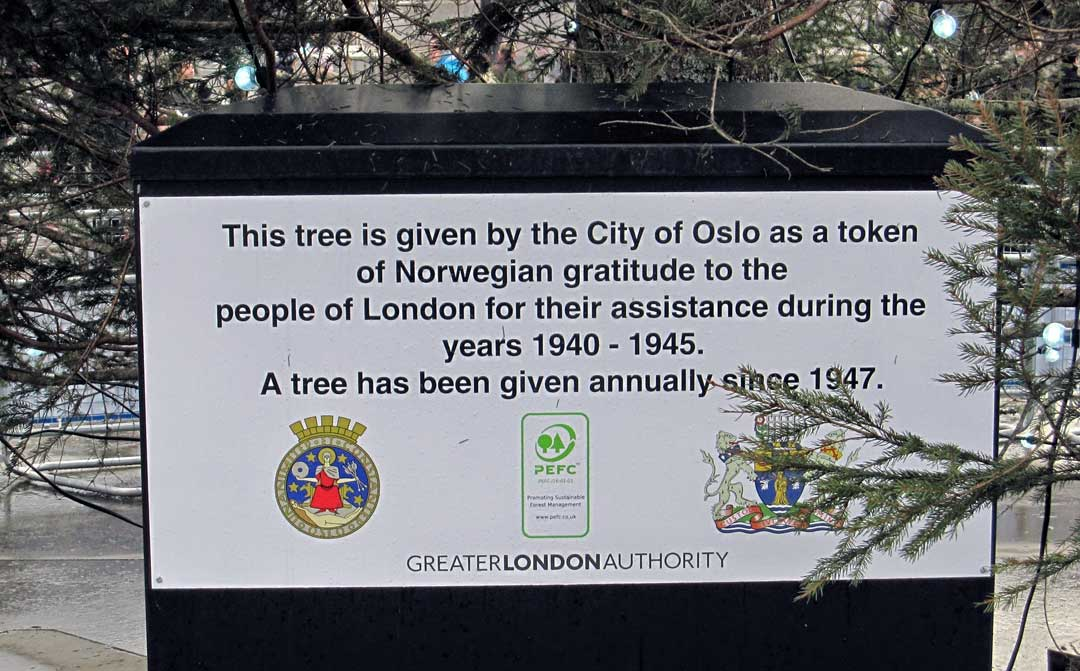 A plaque that shows where the tree is from.