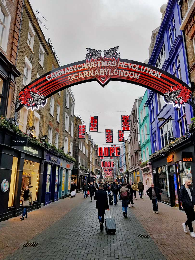 Another London favorite, Carnaby Street Christmas decorations, this is from 2016.