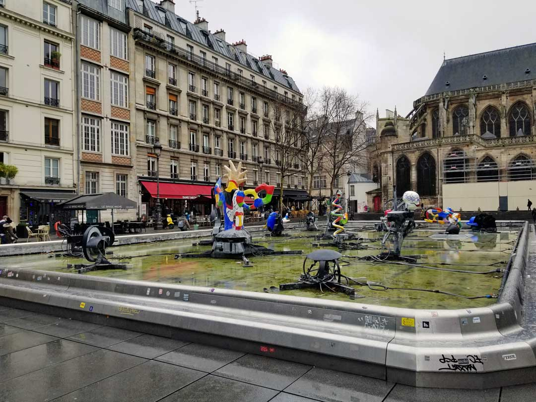 The sculpture garden outside the Centre Pompidou.