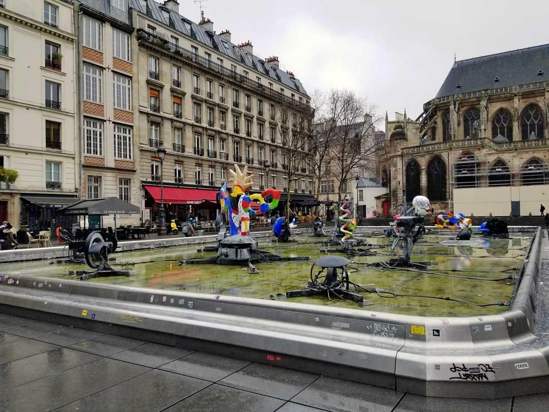 The sculpture garden outside the Centre Pompidou.