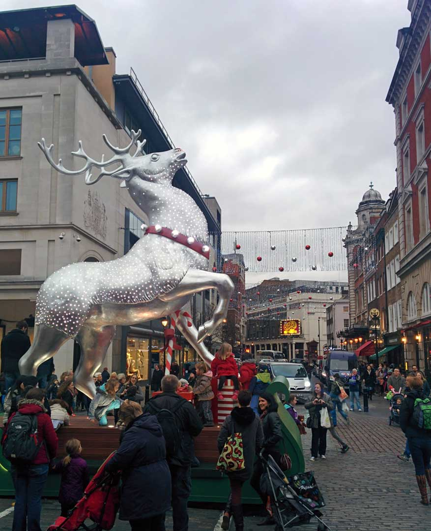 The beautiful Covent Garden Reindeer from 2014, another London favorite.