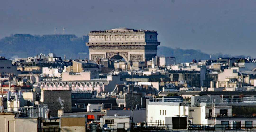 Arc de Triomphe as seen from atop Galleries Lafayette.