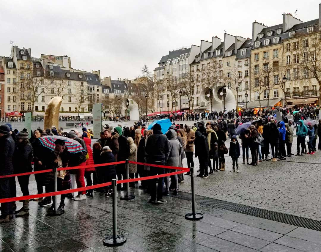 Centre Pompidou lines on Wednesday December 27 2017 - a rainy day in Paris.