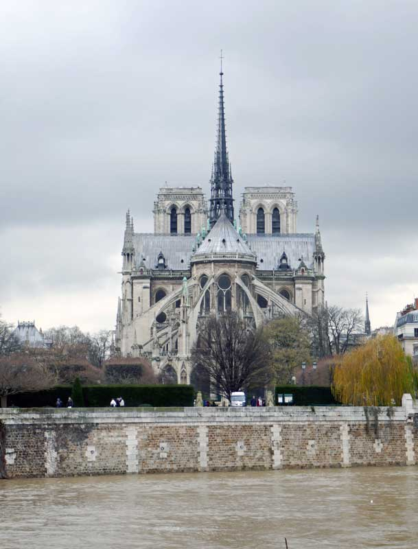 The Seine with Ile Saint-Louis and Notre Dame in the background.