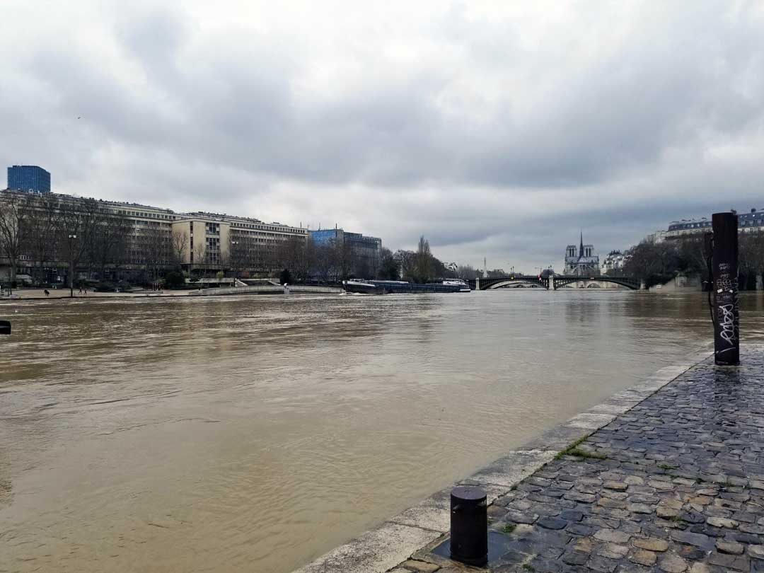 A view of the swollen river Seine.