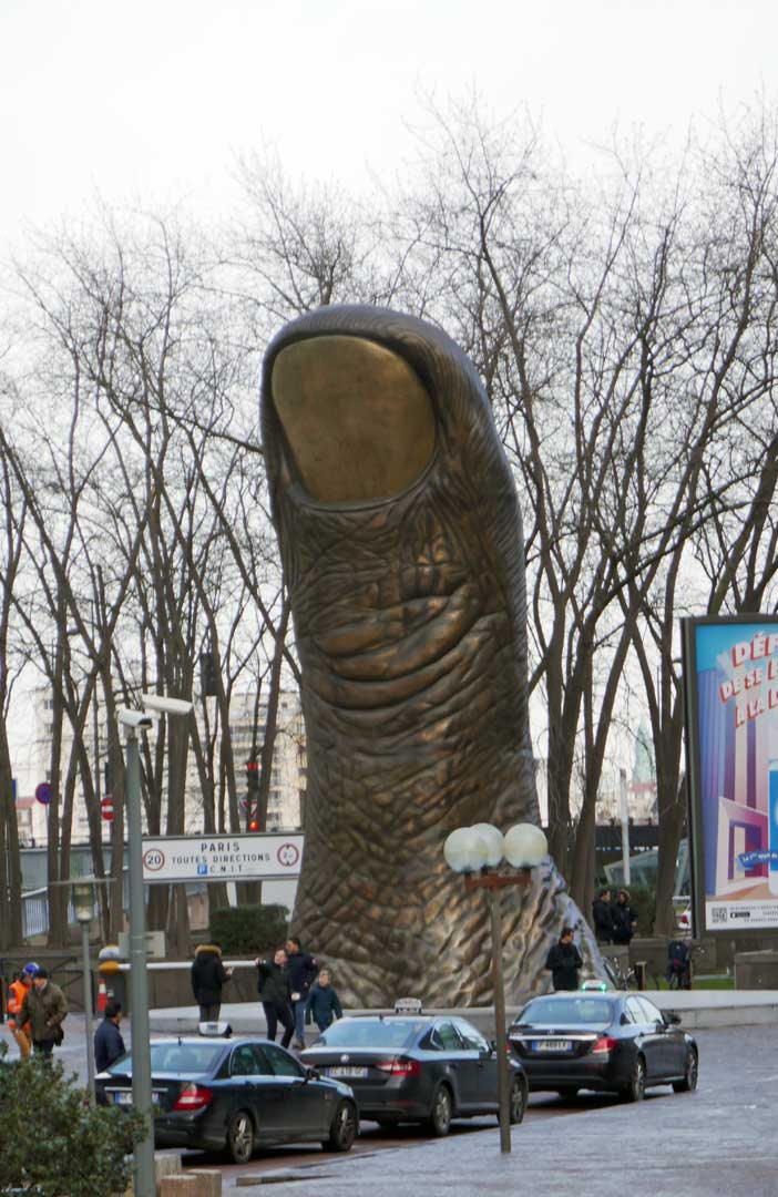 The 15 ft high Bronze of le pouce at La Defense.