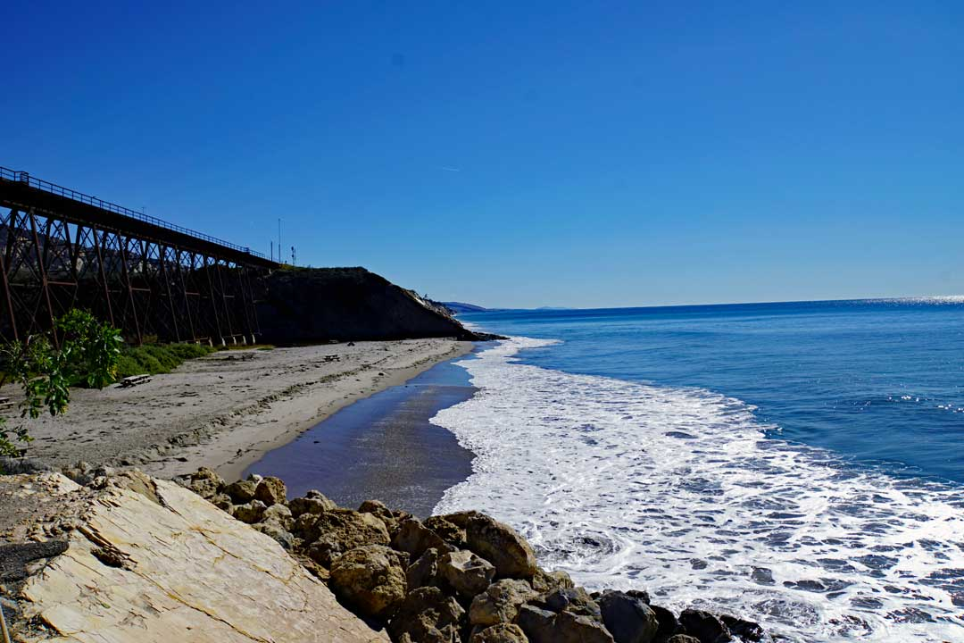 Looking South from the boat launch pier at Gaviota state beach.