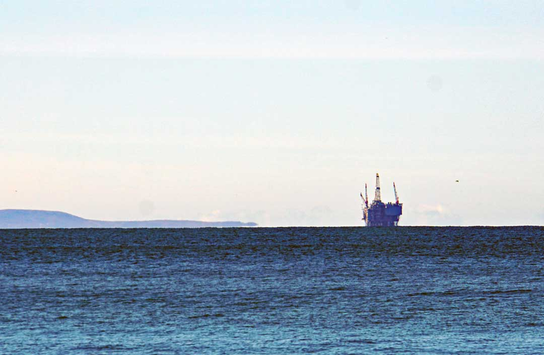 Oil platform in the Santa Barbara channel out towards the Channel Islands.
