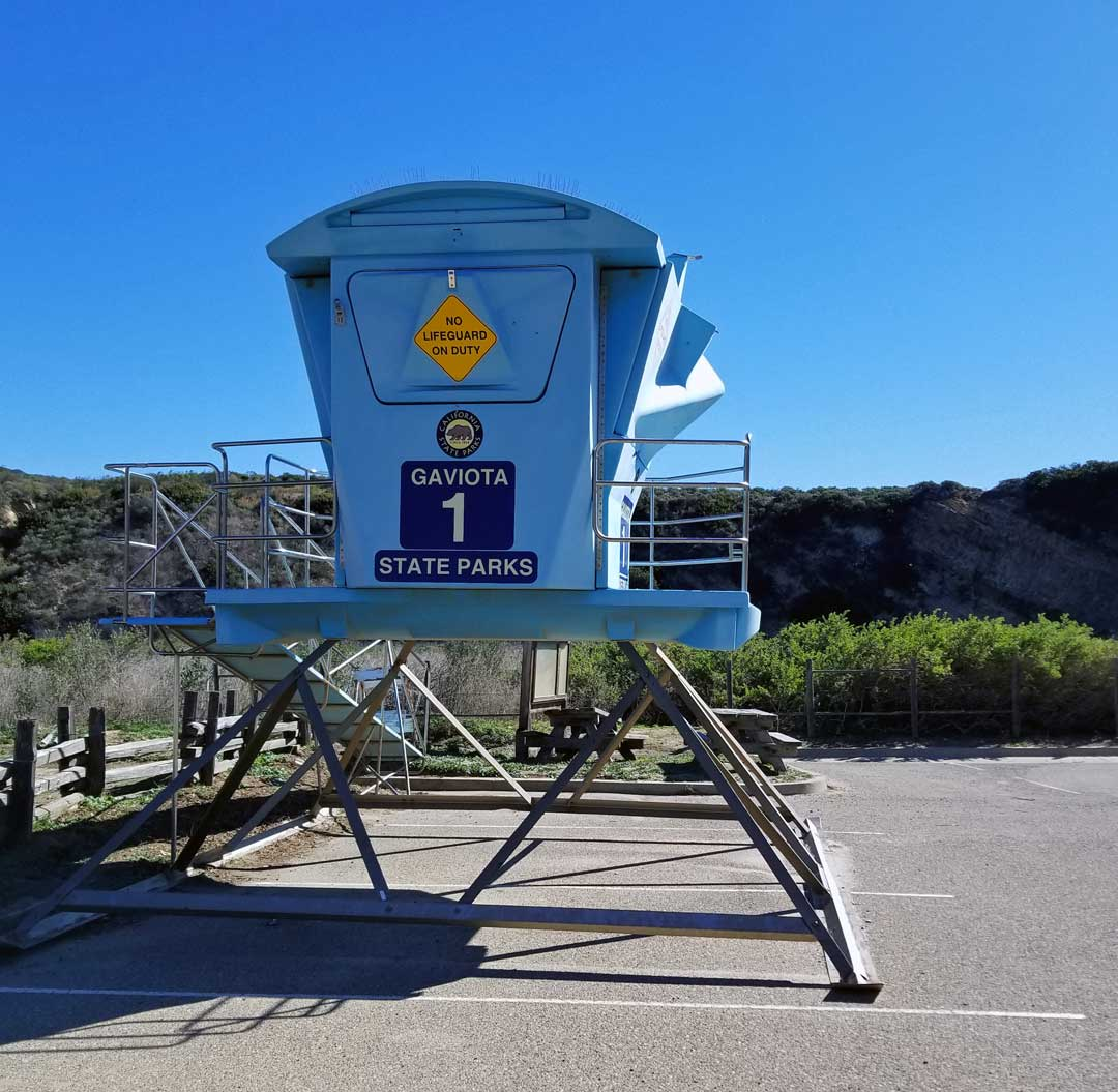 The Gaviota life guard tower is stored in the parking lot for the winter.
