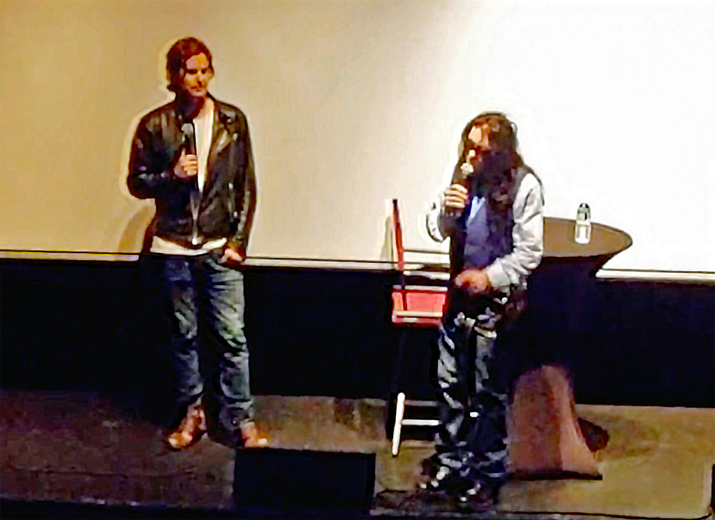Greg Sestero (on the left) and Tommy Wiseau during the Q&A at the premiere of BEST F[R]IENDS.