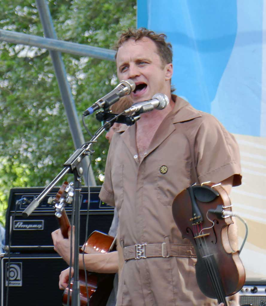 Louis Michot, lead singer and violinist of the Los Bayou Ramblers.