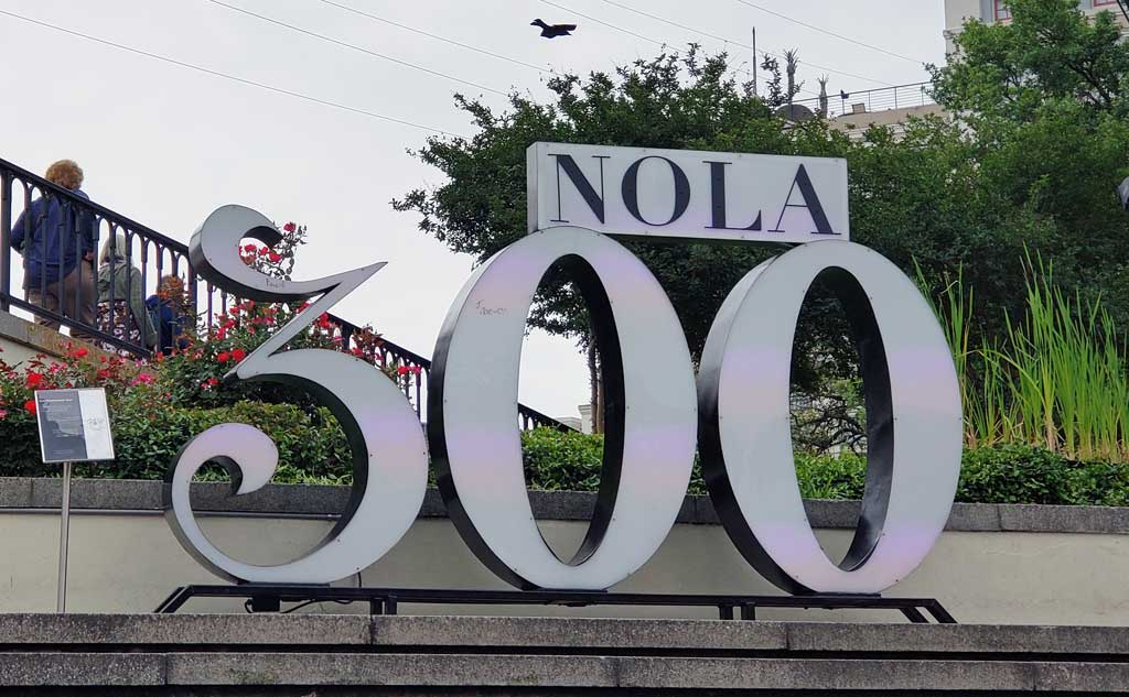 New Orleans 300 sign by Jackson Square.