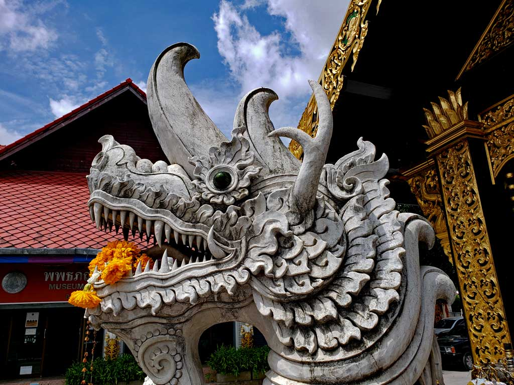 Dragons in Thai culture as in many Asian cultures has magical or, supernatural powers.it often protects temples, bring water and is often associated with wisdom and longevity.