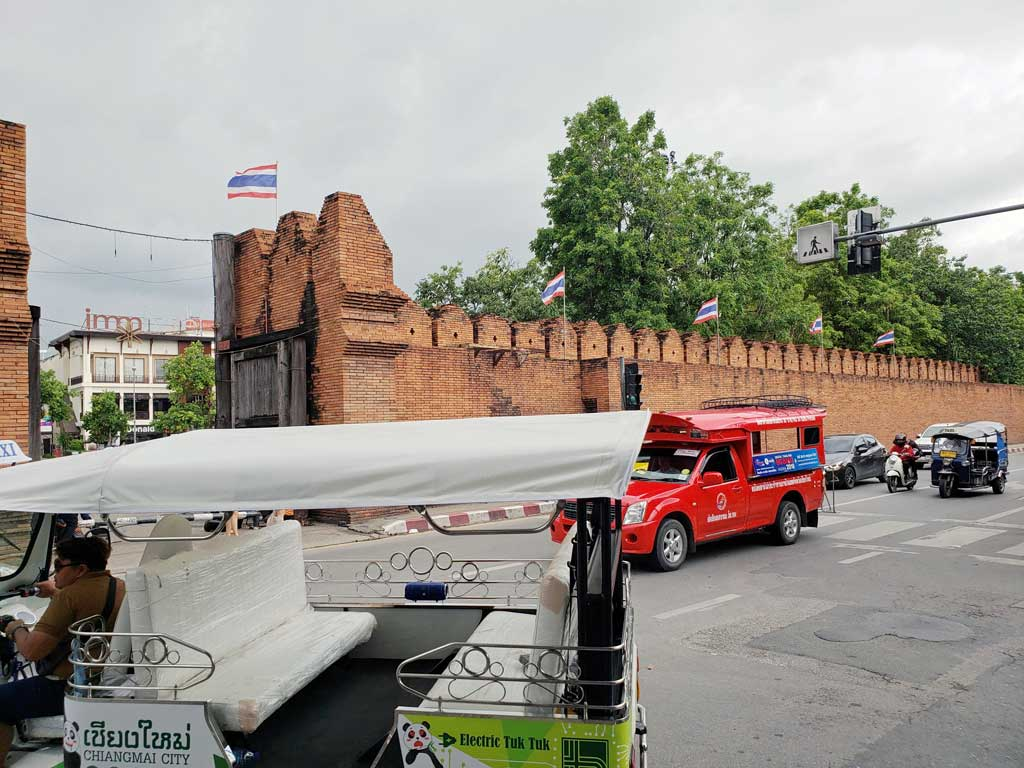 The wall around old town Chiang Mai still stands in places.
