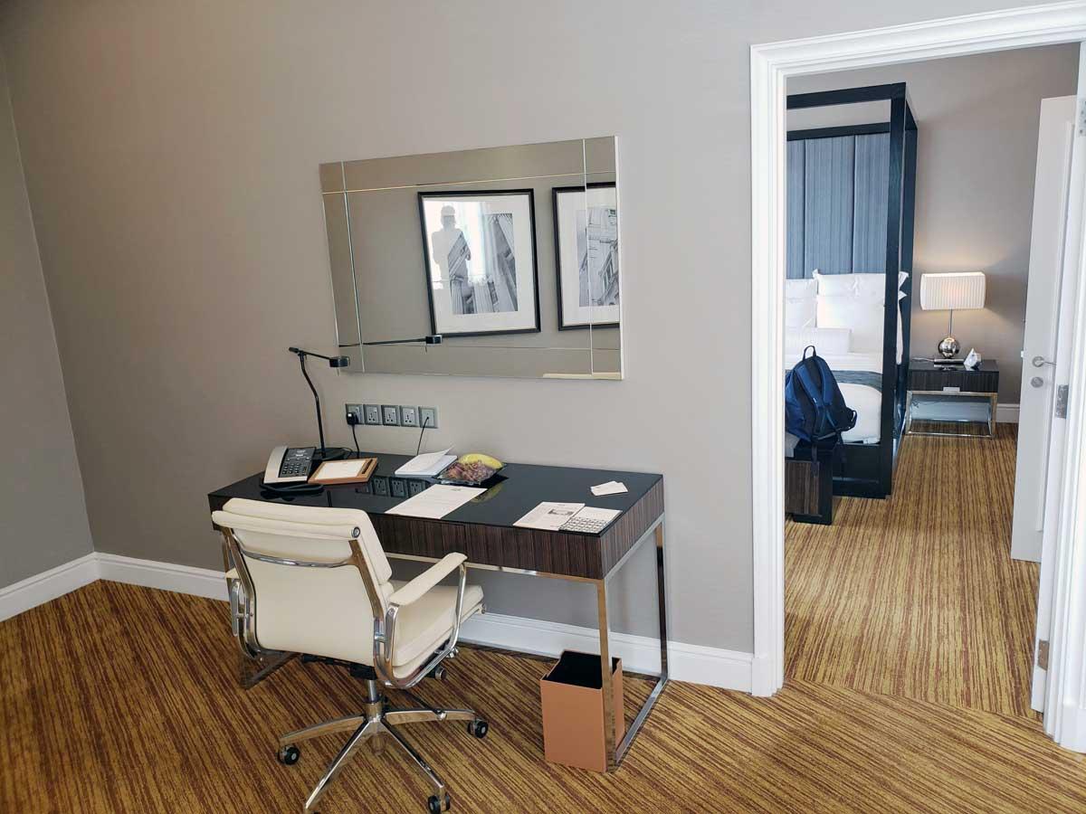 Hotel Majestic 14th floor suite, living room desk area.